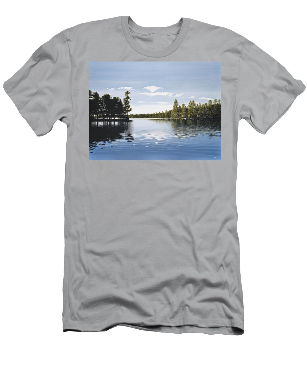 Landscapes Men's T-Shirt (Athletic Fit) featuring the painting Bay On Lake Muskoka by Kenneth M Kirsch