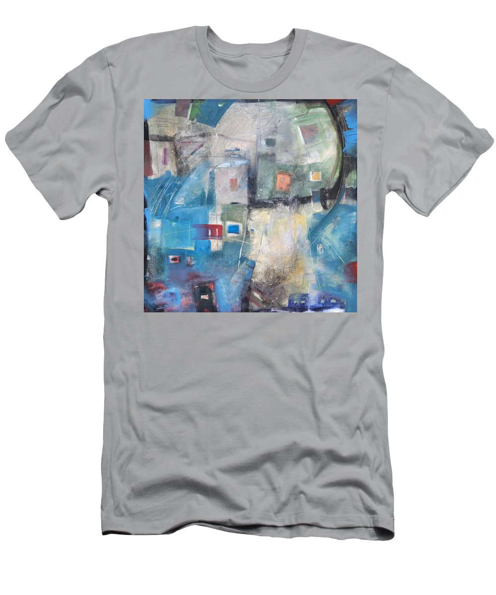 Abstract Men's T-Shirt (Athletic Fit) featuring the painting Bayer Works Wonders by Tim Nyberg