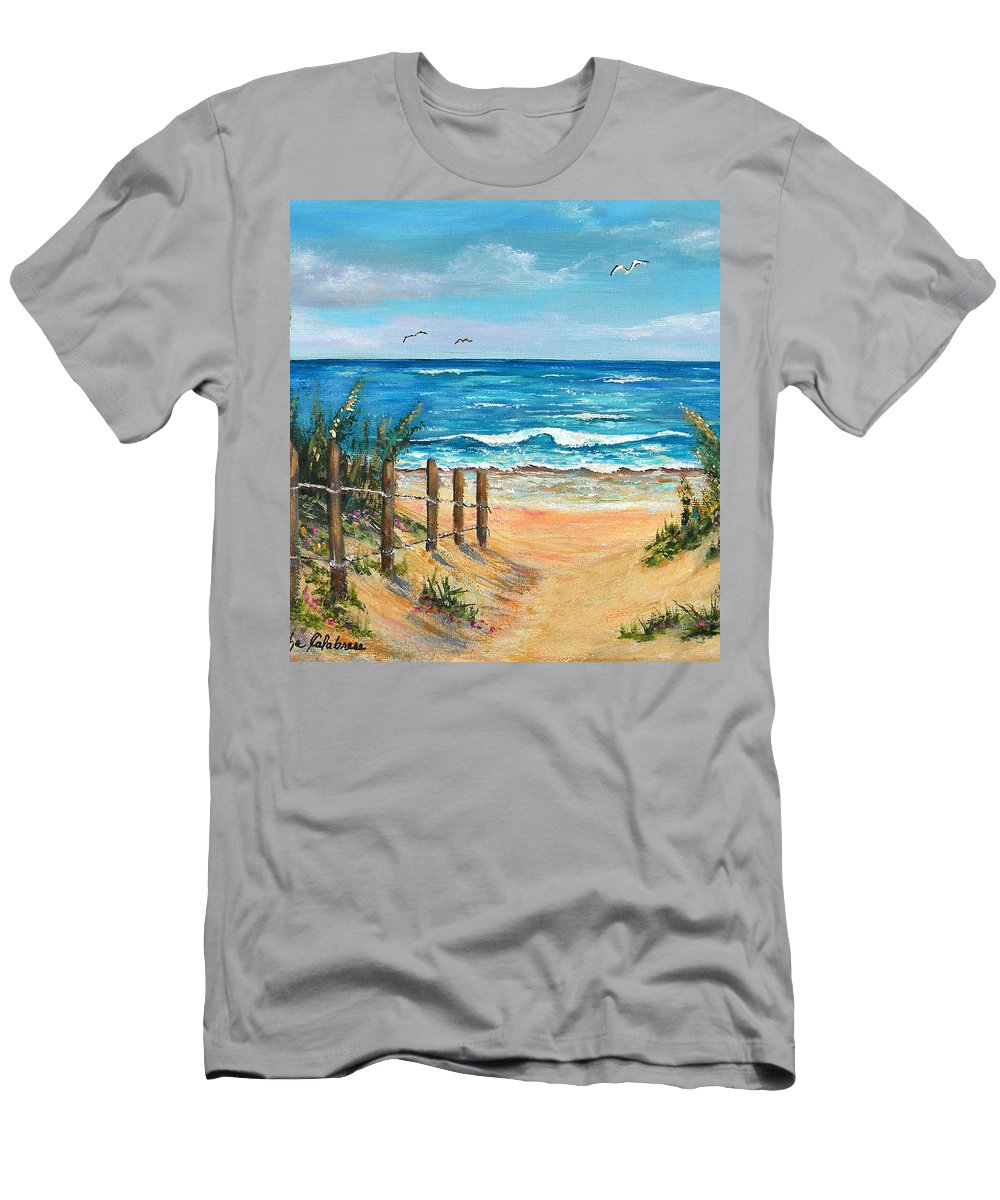 Sand Dunes Men's T-Shirt (Athletic Fit) featuring the painting Beach Access by Trisha Calabrese