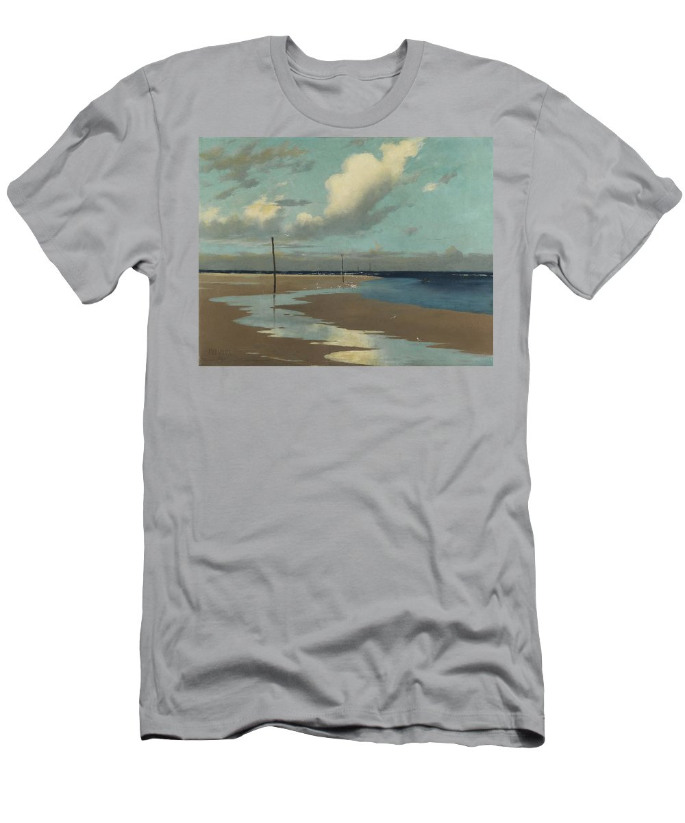 Beach Men's T-Shirt (Athletic Fit) featuring the painting Beach At Low Tide by Frederick Milner