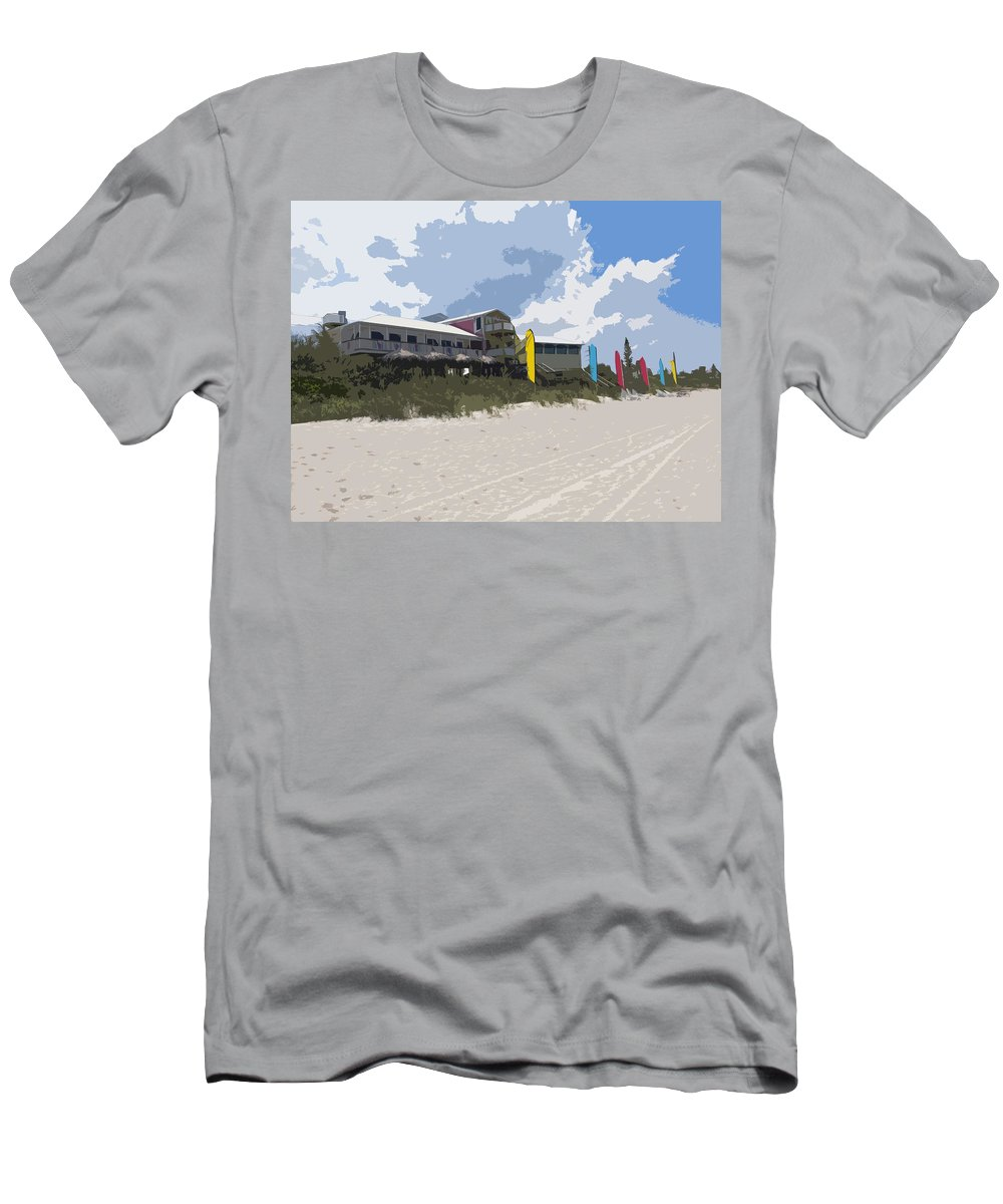 Casino Men's T-Shirt (Athletic Fit) featuring the painting Beach Casino by Allan Hughes