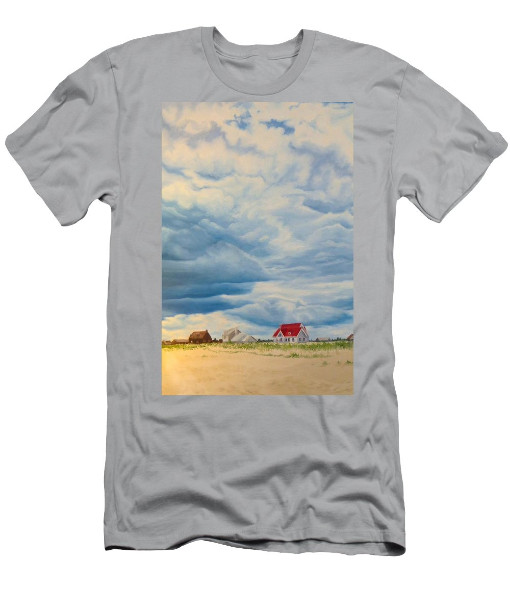 Beach Men's T-Shirt (Athletic Fit) featuring the painting Beach Clouds by Janice Petrella-Walsh