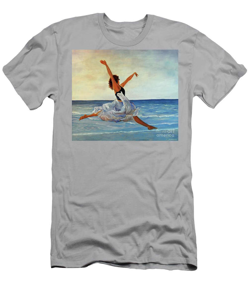 Girl Men's T-Shirt (Athletic Fit) featuring the painting Beach Dancer by Carolyn Shireman