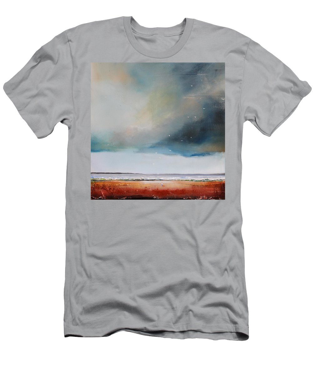 Seagulls Men's T-Shirt (Athletic Fit) featuring the painting Beach Friends by Toni Grote