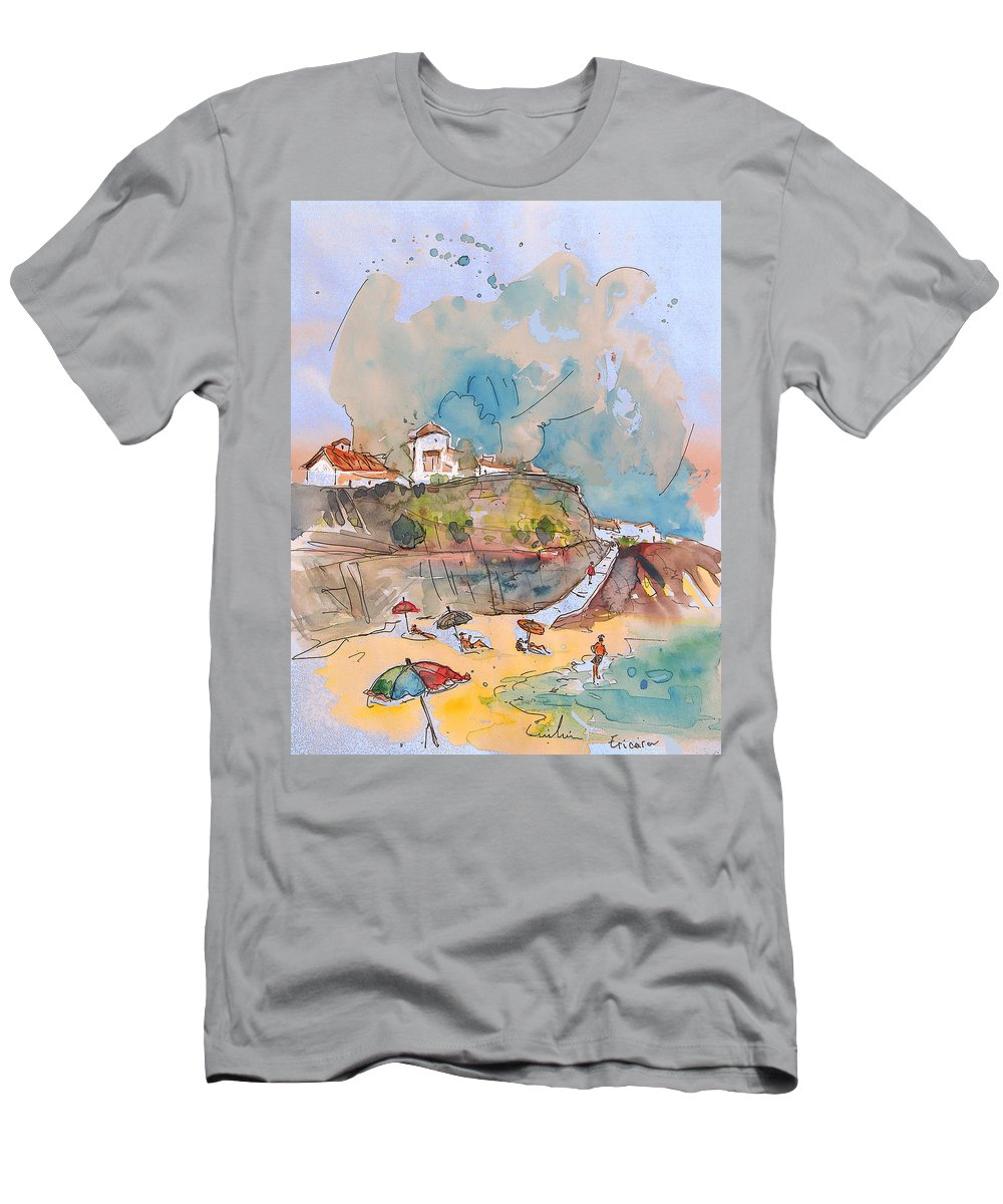 Portugal Art Men's T-Shirt (Athletic Fit) featuring the painting Beach In Ericeira In Portugal by Miki De Goodaboom