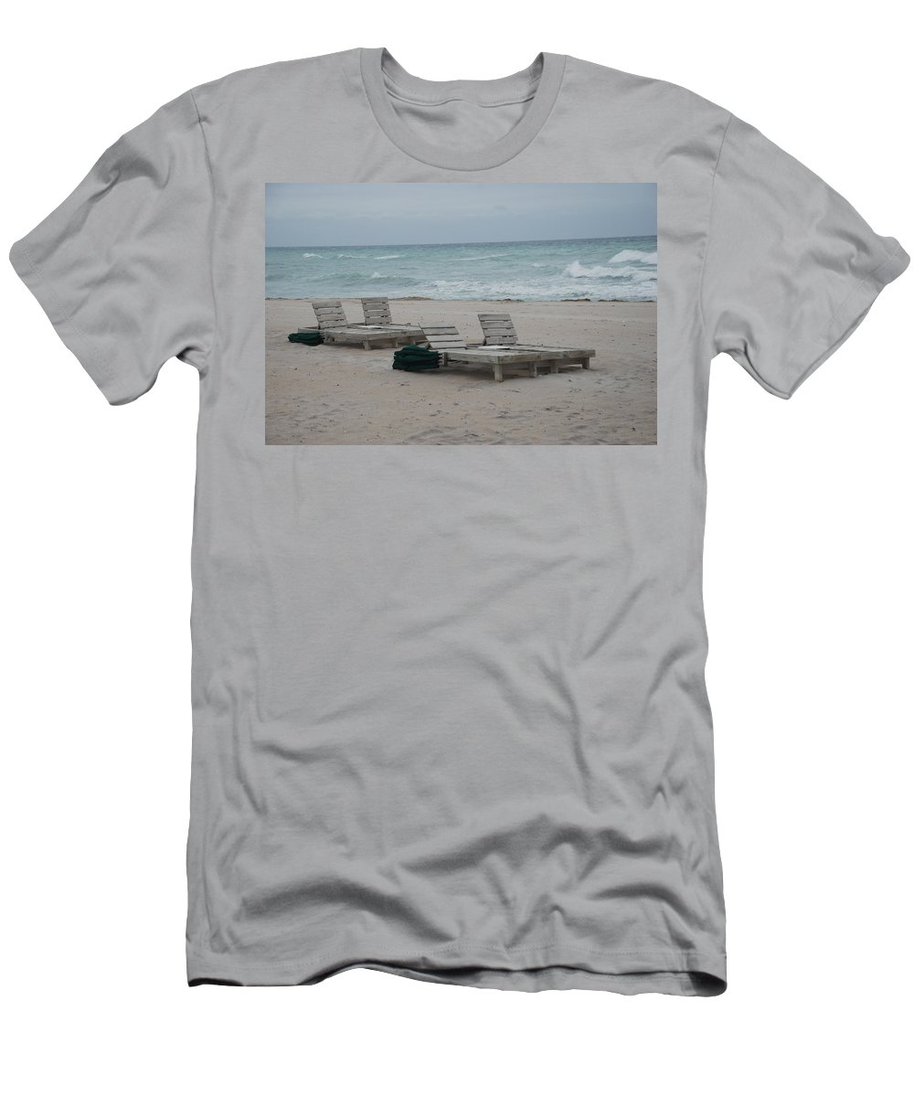 Chairs Men's T-Shirt (Athletic Fit) featuring the photograph Beach Loungers by Rob Hans