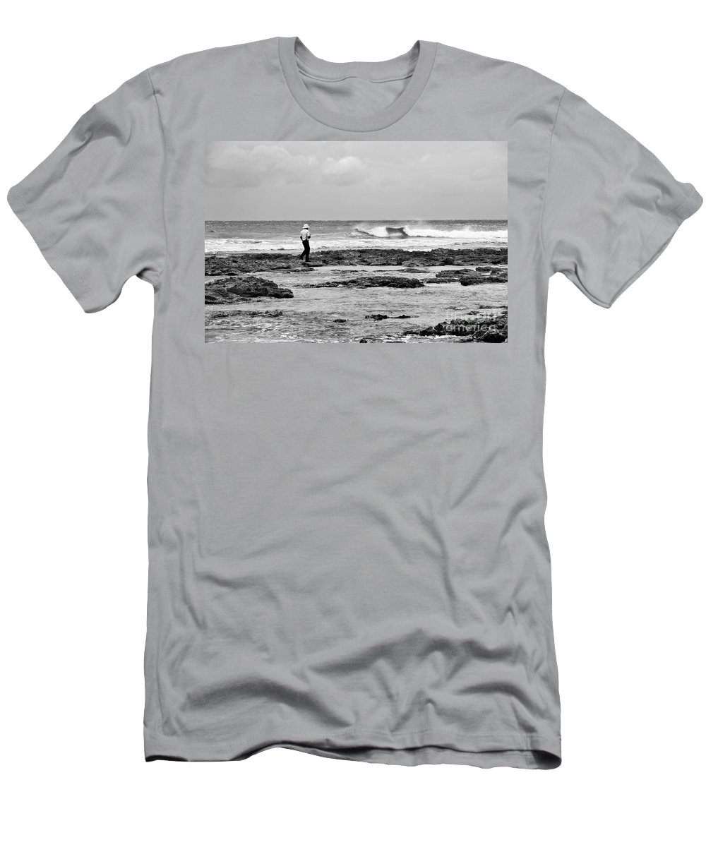 Black And White Men's T-Shirt (Athletic Fit) featuring the photograph Beach Patrol by Teresa Zieba