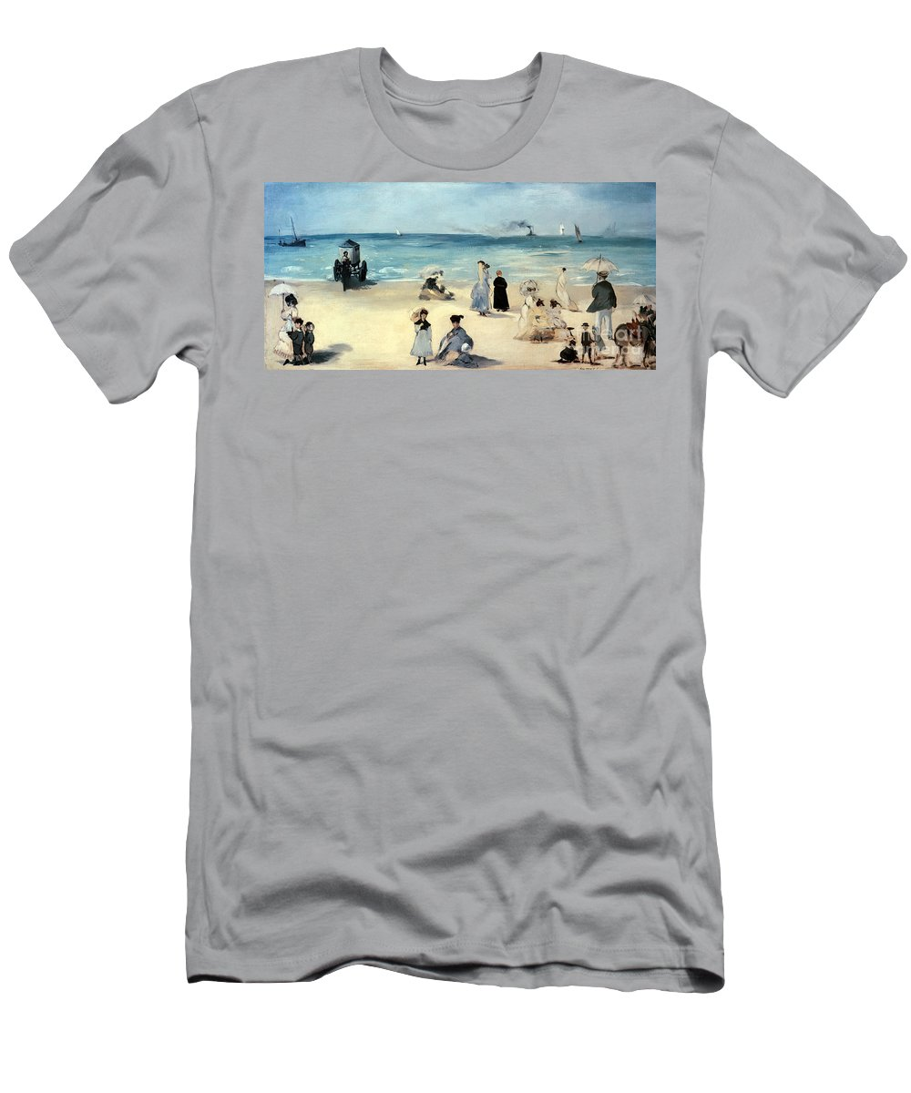 Beach Men's T-Shirt (Athletic Fit) featuring the painting Beach Scene by Edouard Manet