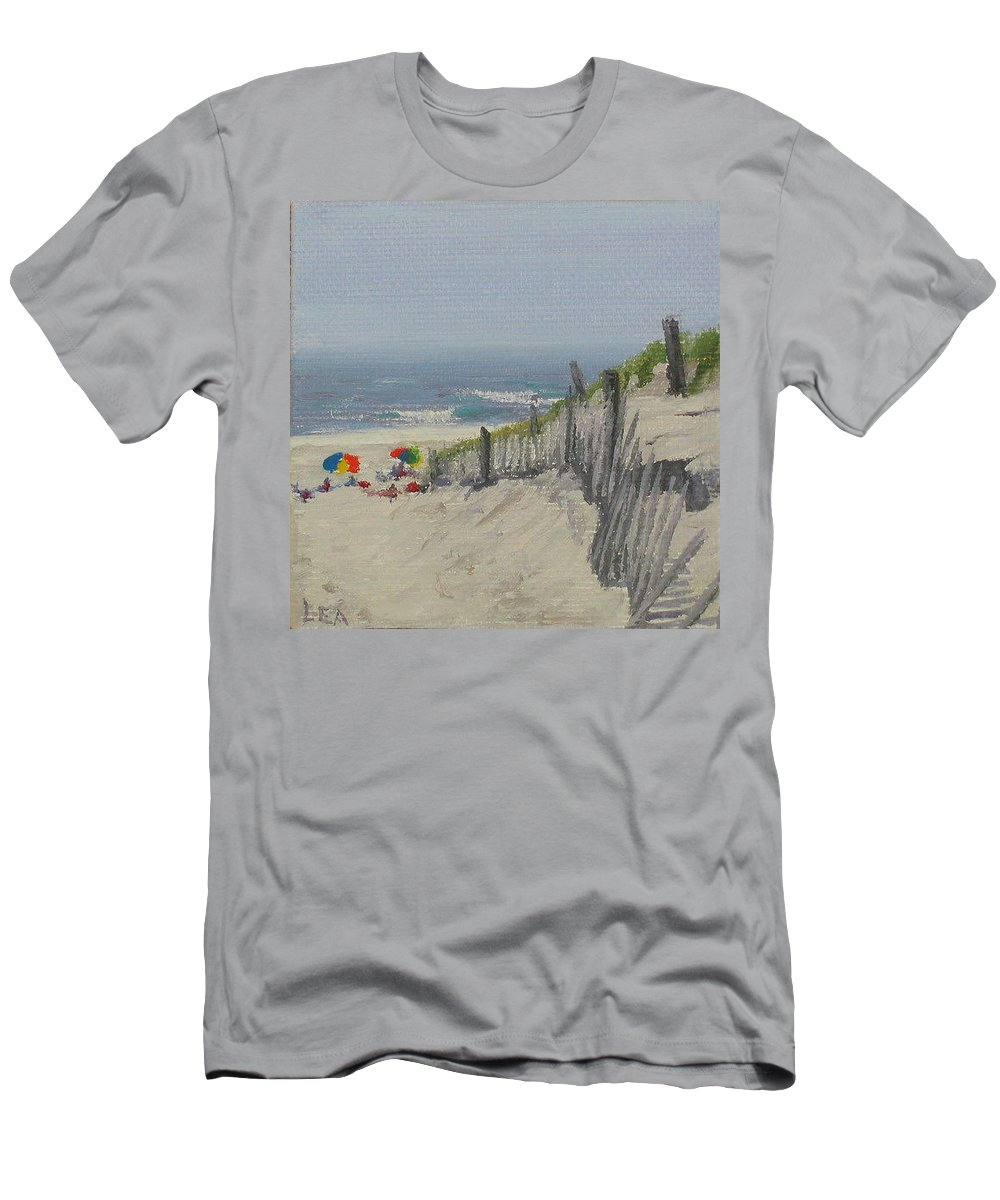 Beach Men's T-Shirt (Athletic Fit) featuring the painting Beach Scene Miniature by Lea Novak