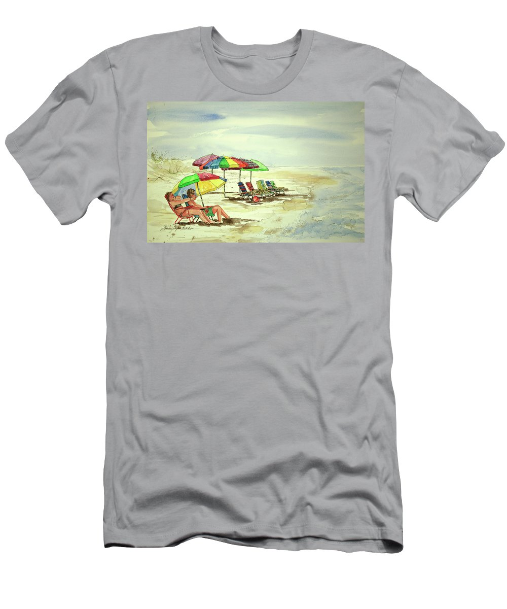 Beach Men's T-Shirt (Athletic Fit) featuring the painting Beach View by Shirley Sykes Bracken