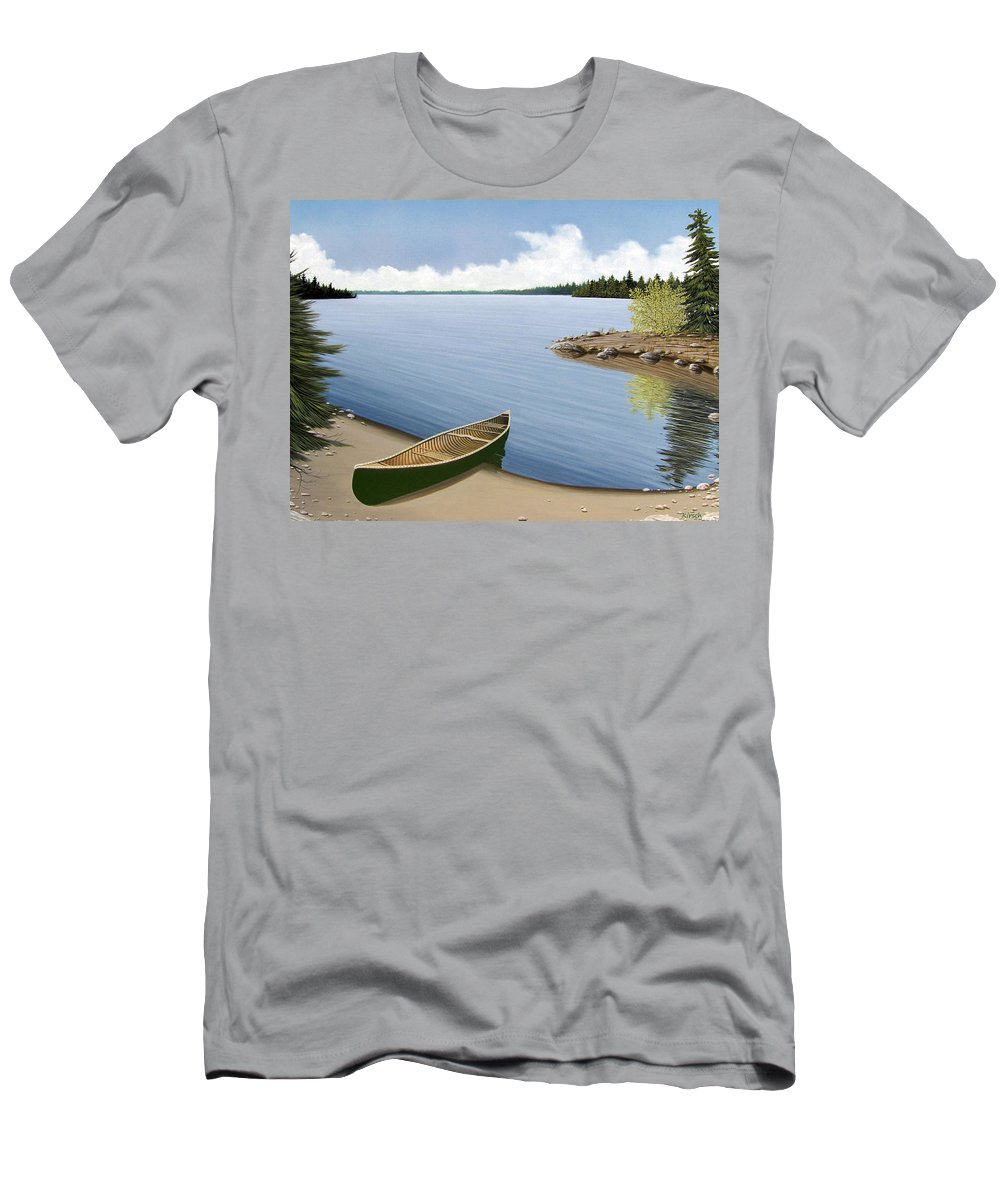 Canoe Men's T-Shirt (Athletic Fit) featuring the painting Beached In Ontario by Kenneth M Kirsch