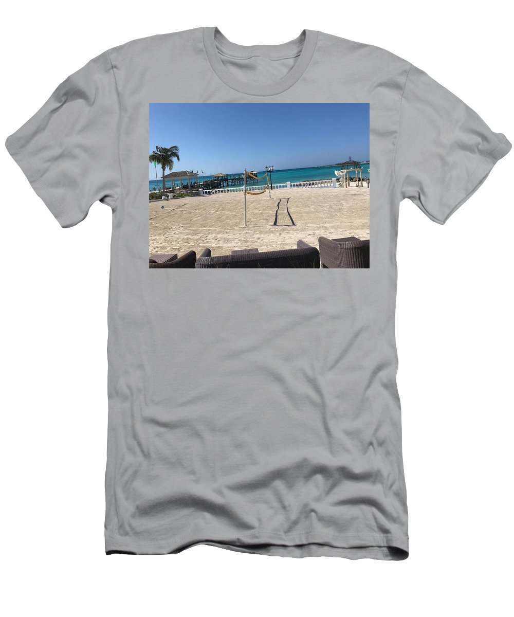 Vollyball Men's T-Shirt (Athletic Fit) featuring the photograph Beachfront Vollyball by Alex Creighton