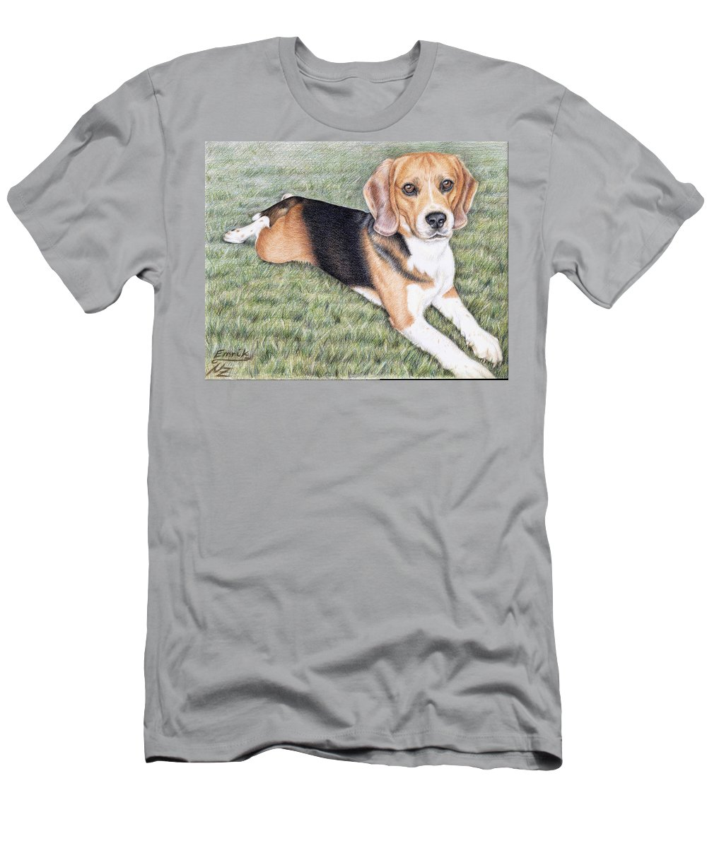 Dog Men's T-Shirt (Athletic Fit) featuring the drawing Beagle by Nicole Zeug