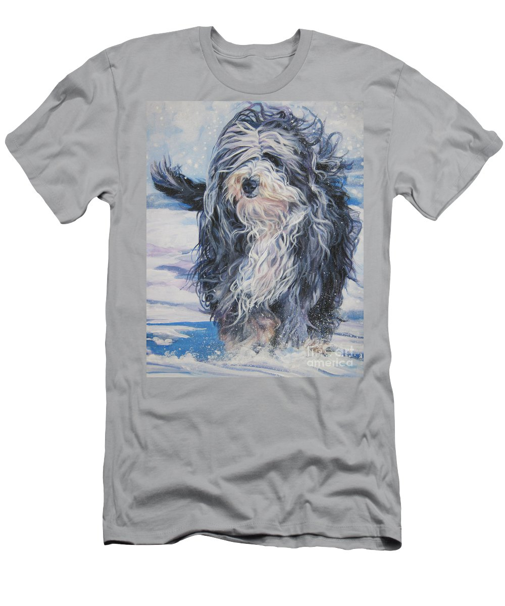 Bearded Collie Men's T-Shirt (Athletic Fit) featuring the painting Bearded Collie In Snow by Lee Ann Shepard