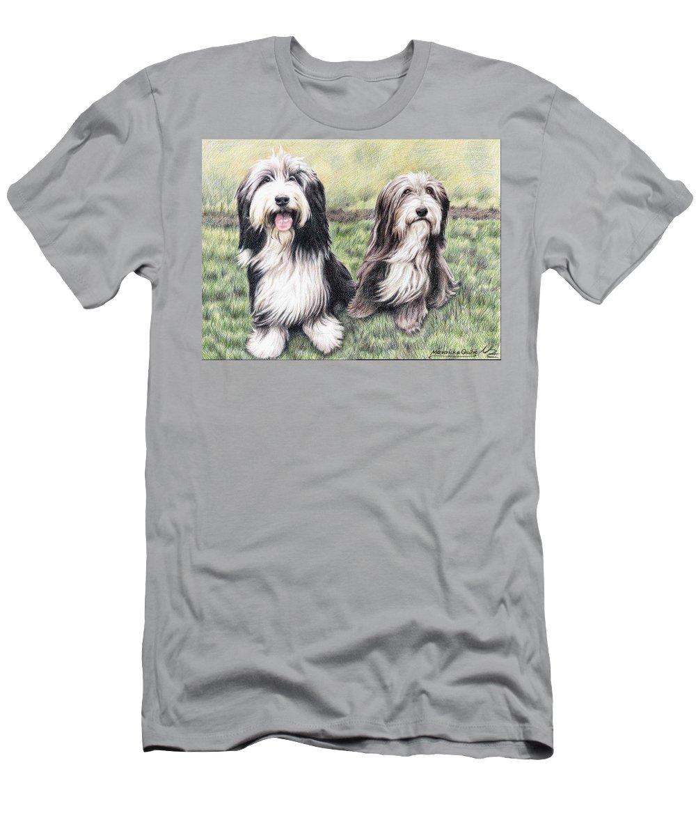 Dogs T-Shirt featuring the drawing Bearded Collies by Nicole Zeug