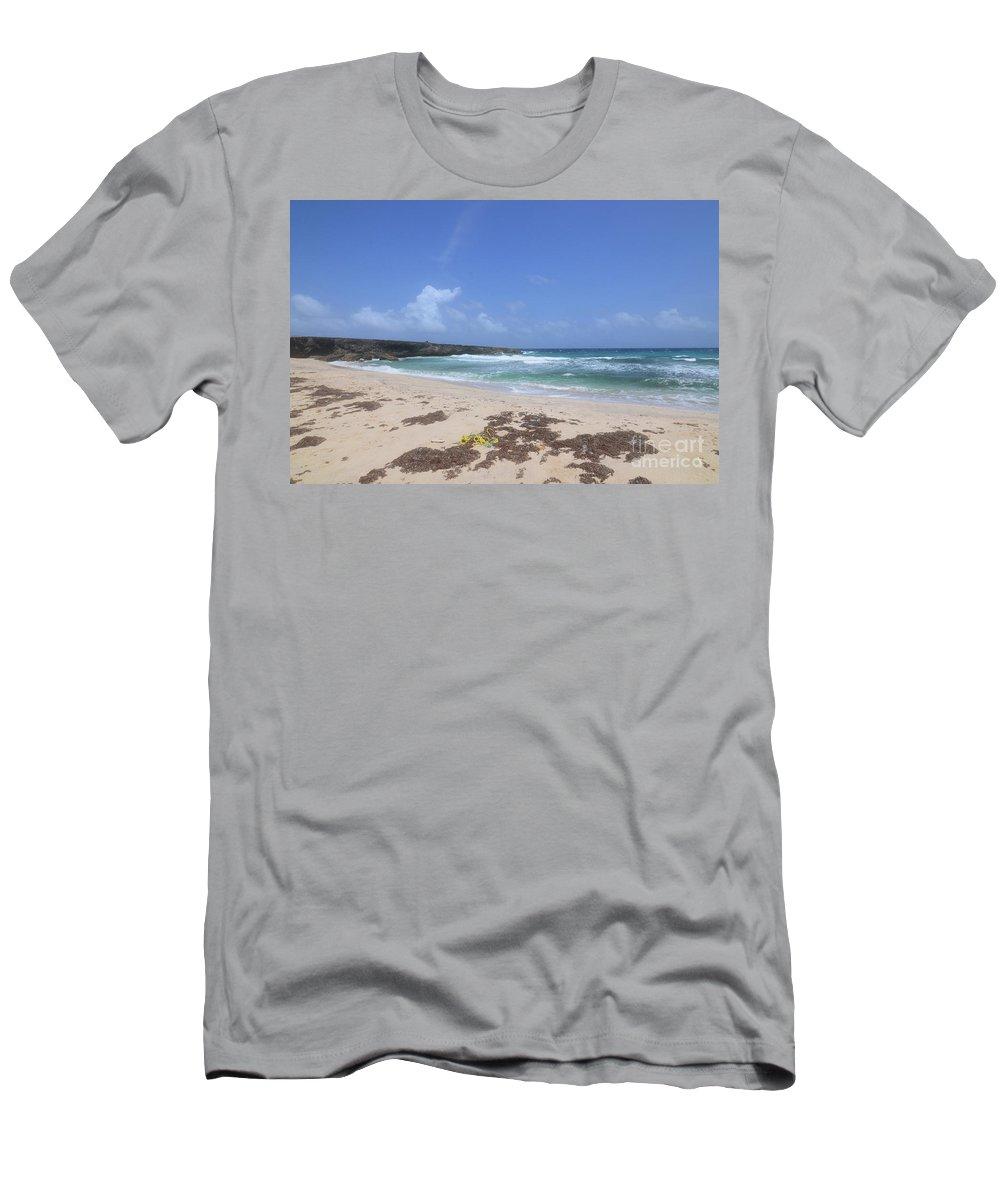 Boca Keto Men's T-Shirt (Athletic Fit) featuring the photograph Beautiful Deserted Boca Keto Beach In Aruba by DejaVu Designs