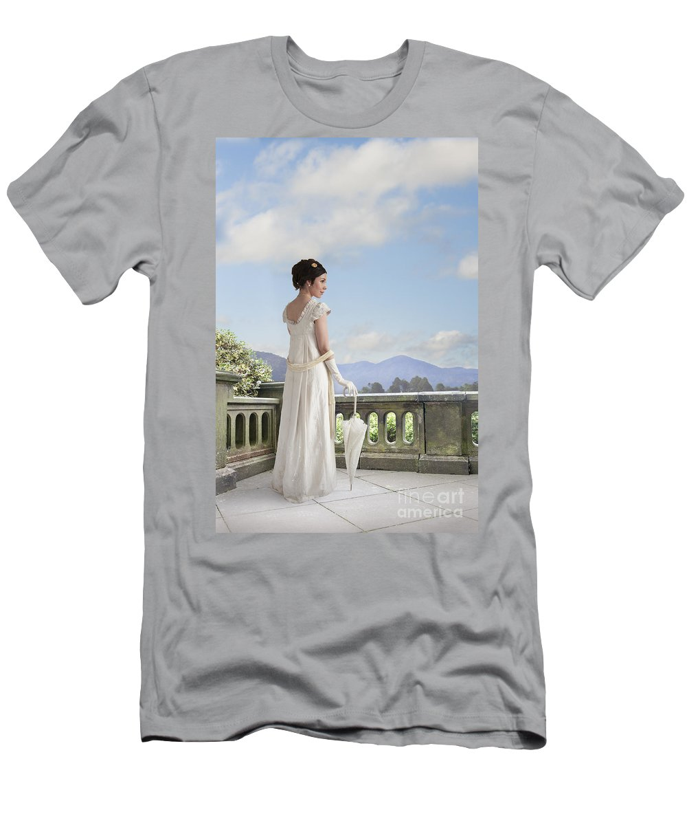 Regency Men's T-Shirt (Athletic Fit) featuring the photograph Beautiful Regency Woman Admiring The View From The Terrace by Lee Avison