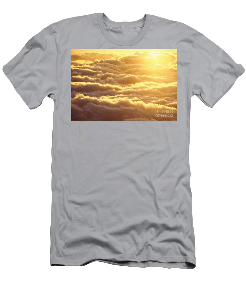 Afternoon Men's T-Shirt (Athletic Fit) featuring the photograph Bed Of Puffy Clouds by Carl Shaneff - Printscapes