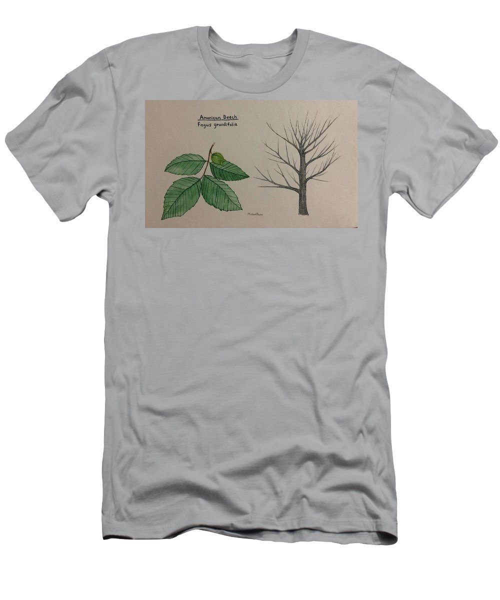 Nature Men's T-Shirt (Athletic Fit) featuring the painting Beech Tree Id by Michael Panno