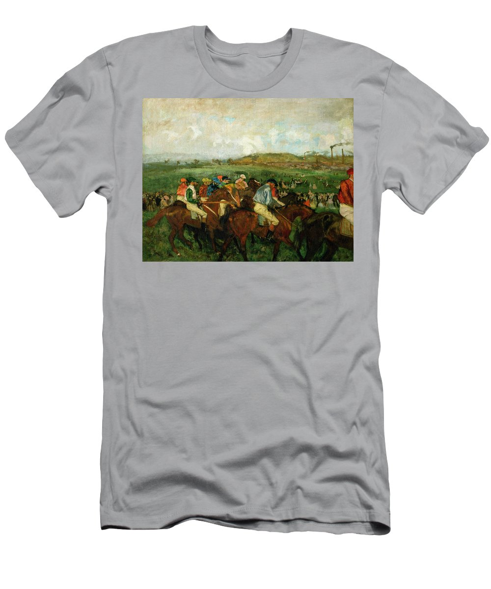 Gentlemen Race. Before The Departure Men's T-Shirt (Athletic Fit) featuring the painting Before The Departure by Edgar Degas
