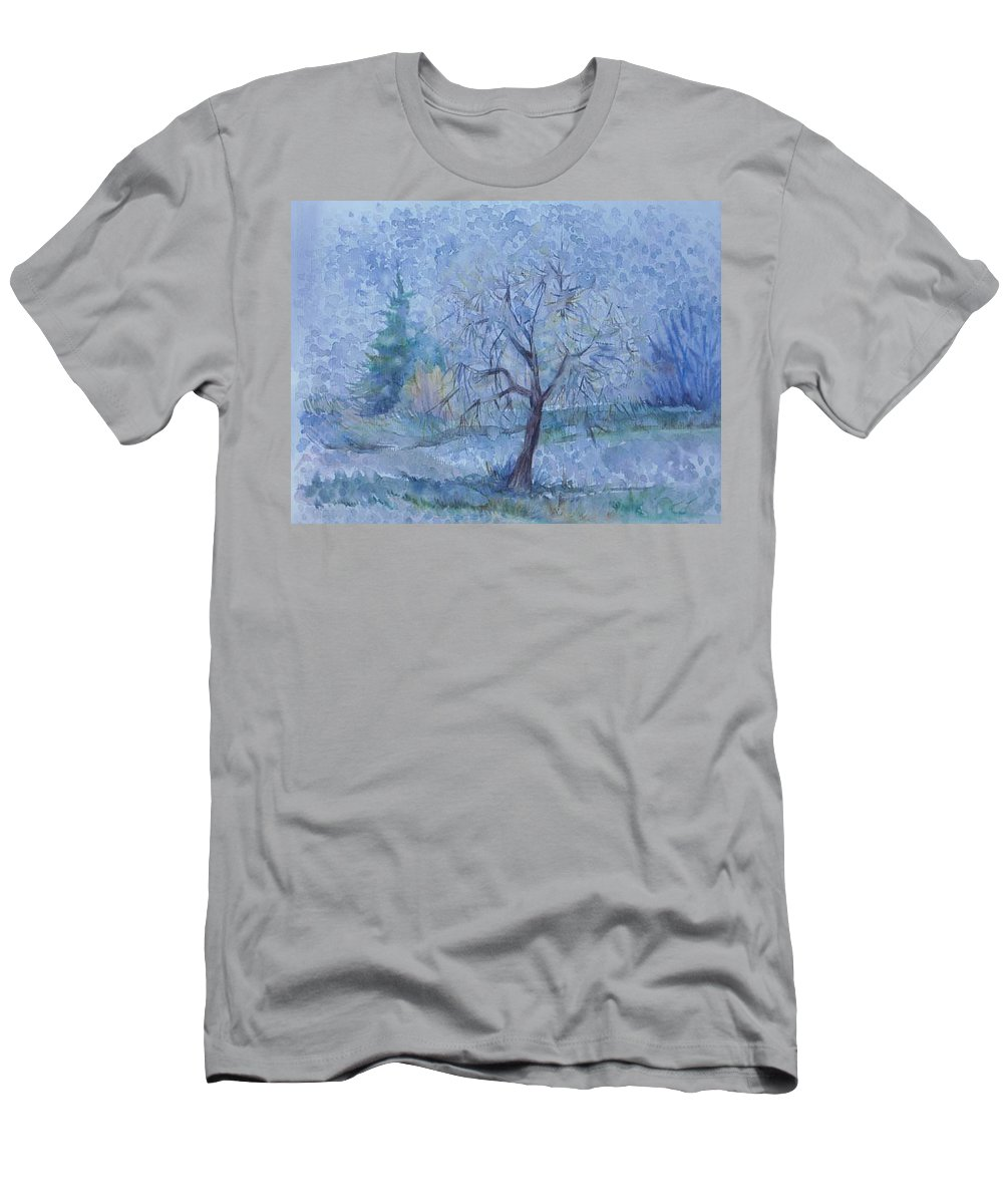 Autumn Men's T-Shirt (Athletic Fit) featuring the painting Beginning Of Another Winter by Anna Duyunova