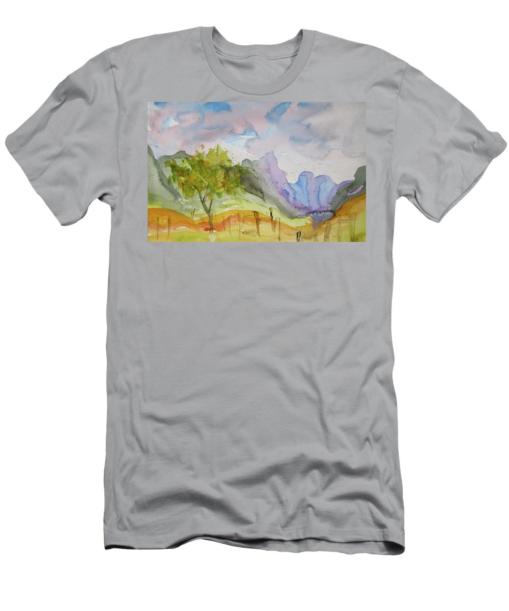 Landscape Men's T-Shirt (Athletic Fit) featuring the painting Behind Overland Sheepskin by Beverley Harper Tinsley