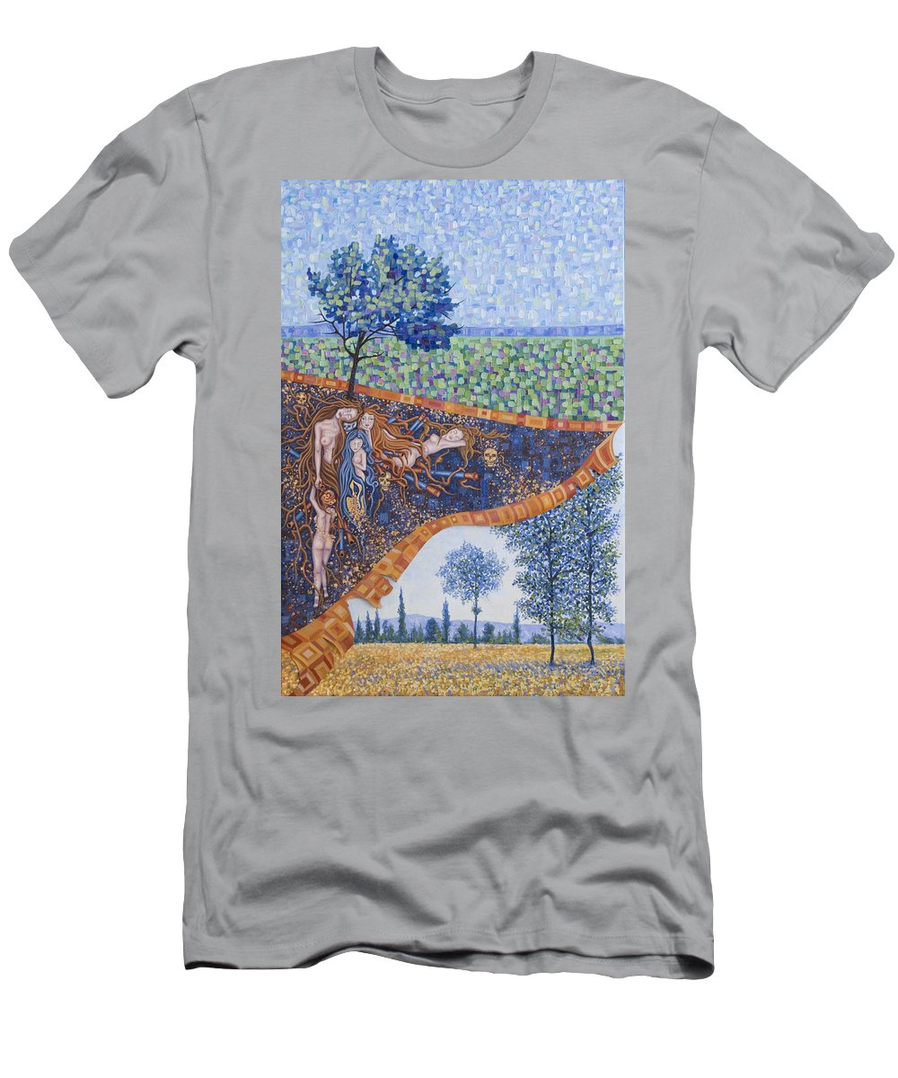 Canvas T-Shirt featuring the painting Behind the Canvas by Judy Henninger