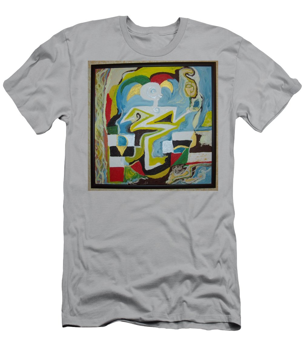 Abstract Men's T-Shirt (Athletic Fit) featuring the painting Behind The Moon. Artist. by Bennu Bennu