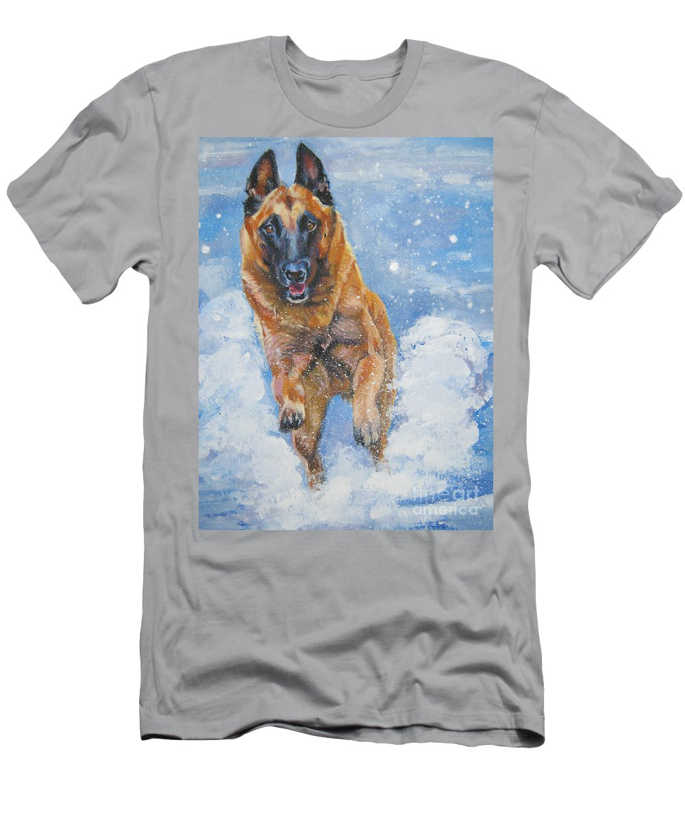 Belgian Malinois Men's T-Shirt (Athletic Fit) featuring the painting Belgian Malinois In Snow by Lee Ann Shepard