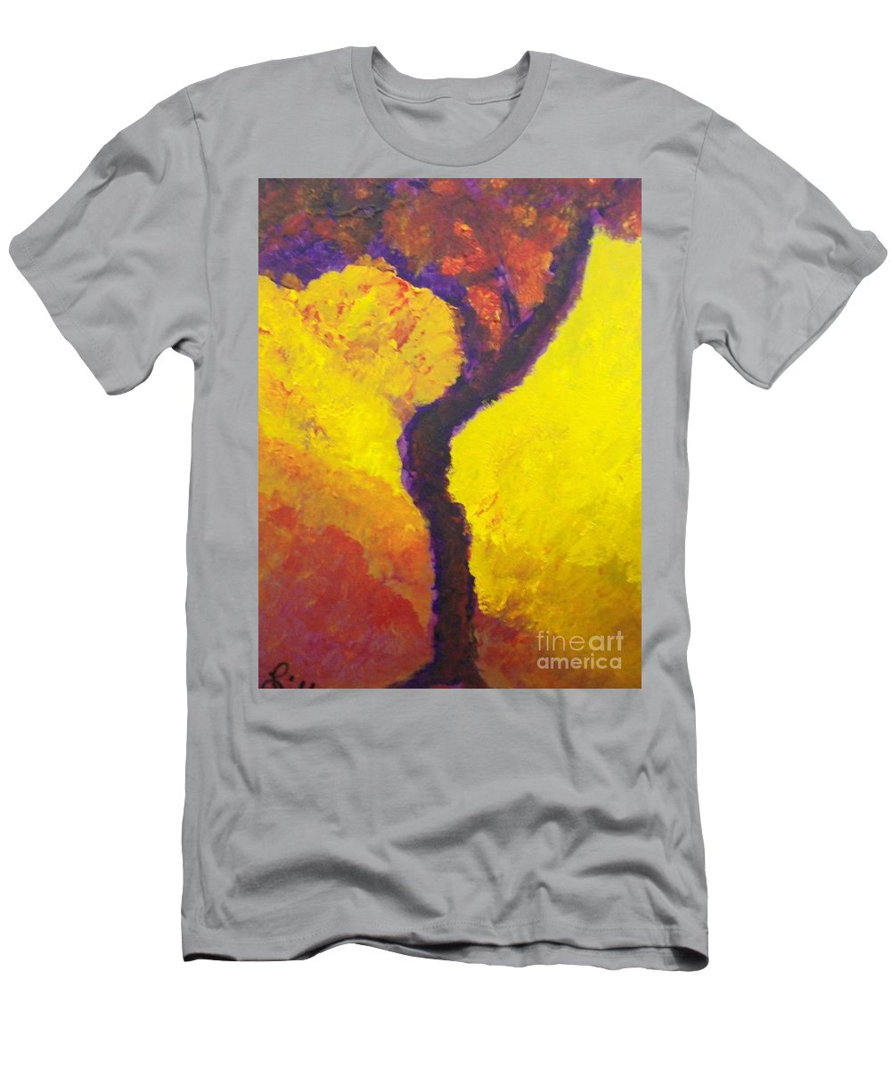 Bendy Tree Men's T-Shirt (Athletic Fit) featuring the painting Bendy Tree by Laurette Escobar
