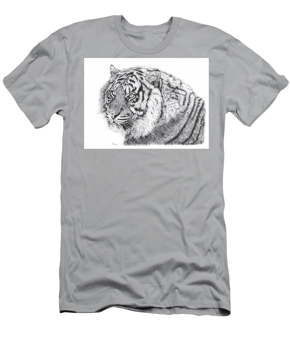 Pencil Drawing T-Shirt featuring the drawing Bengal Tiger by Remrov