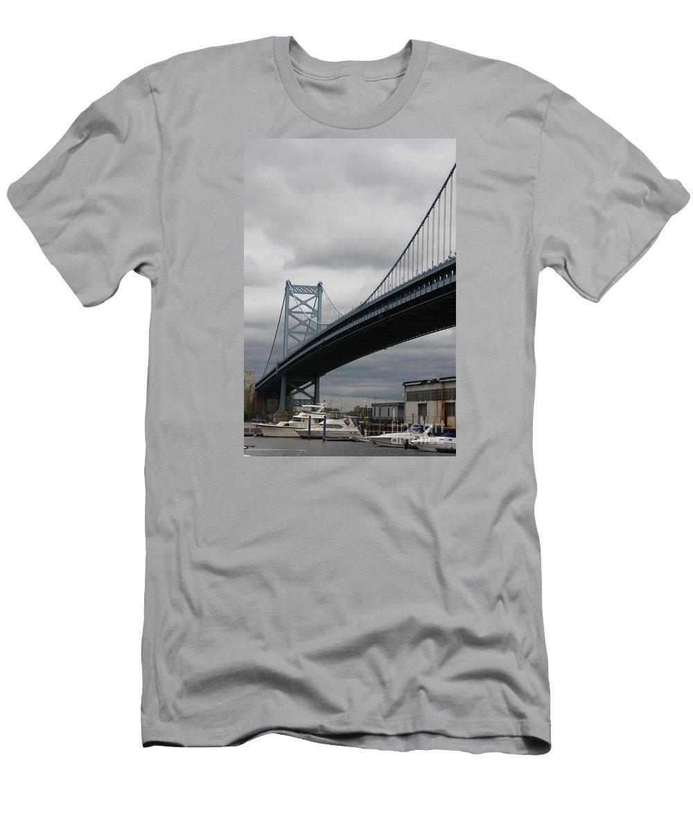 Bridge Men's T-Shirt (Athletic Fit) featuring the photograph Benjamin Franklin Bridge Philadelphia by Christiane Schulze Art And Photography