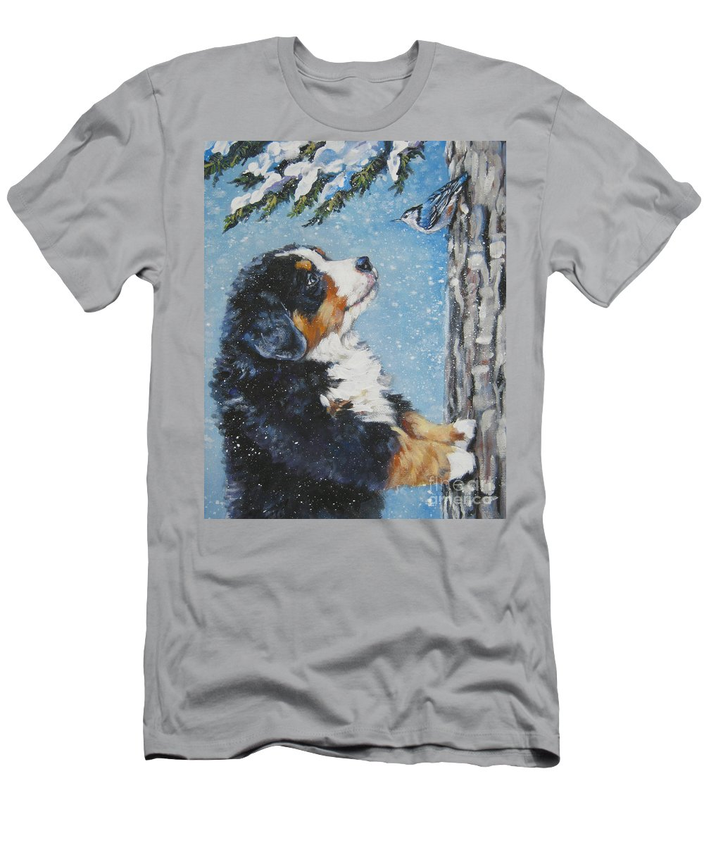 Bernese Mountain Dog Men's T-Shirt (Athletic Fit) featuring the painting bernese Mountain Dog puppy and nuthatch by Lee Ann Shepard