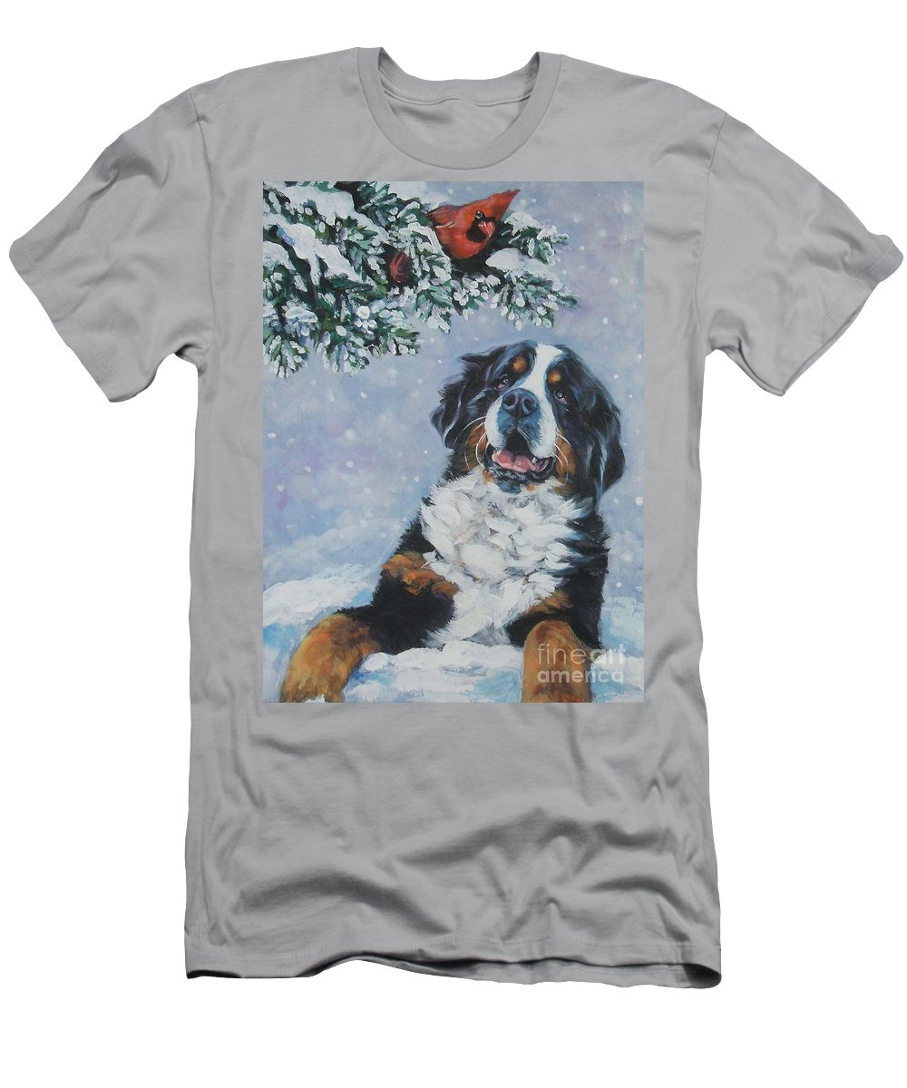 Bernese Mountain Dog Men's T-Shirt (Athletic Fit) featuring the painting Bernese Mountain Dog With Cardinal by Lee Ann Shepard