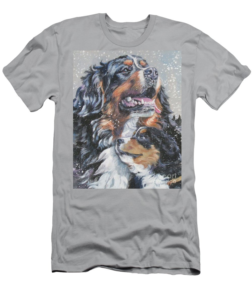 Bernese Mountain Dog Men's T-Shirt (Athletic Fit) featuring the painting Bernese Mountain Dog With Pup by Lee Ann Shepard