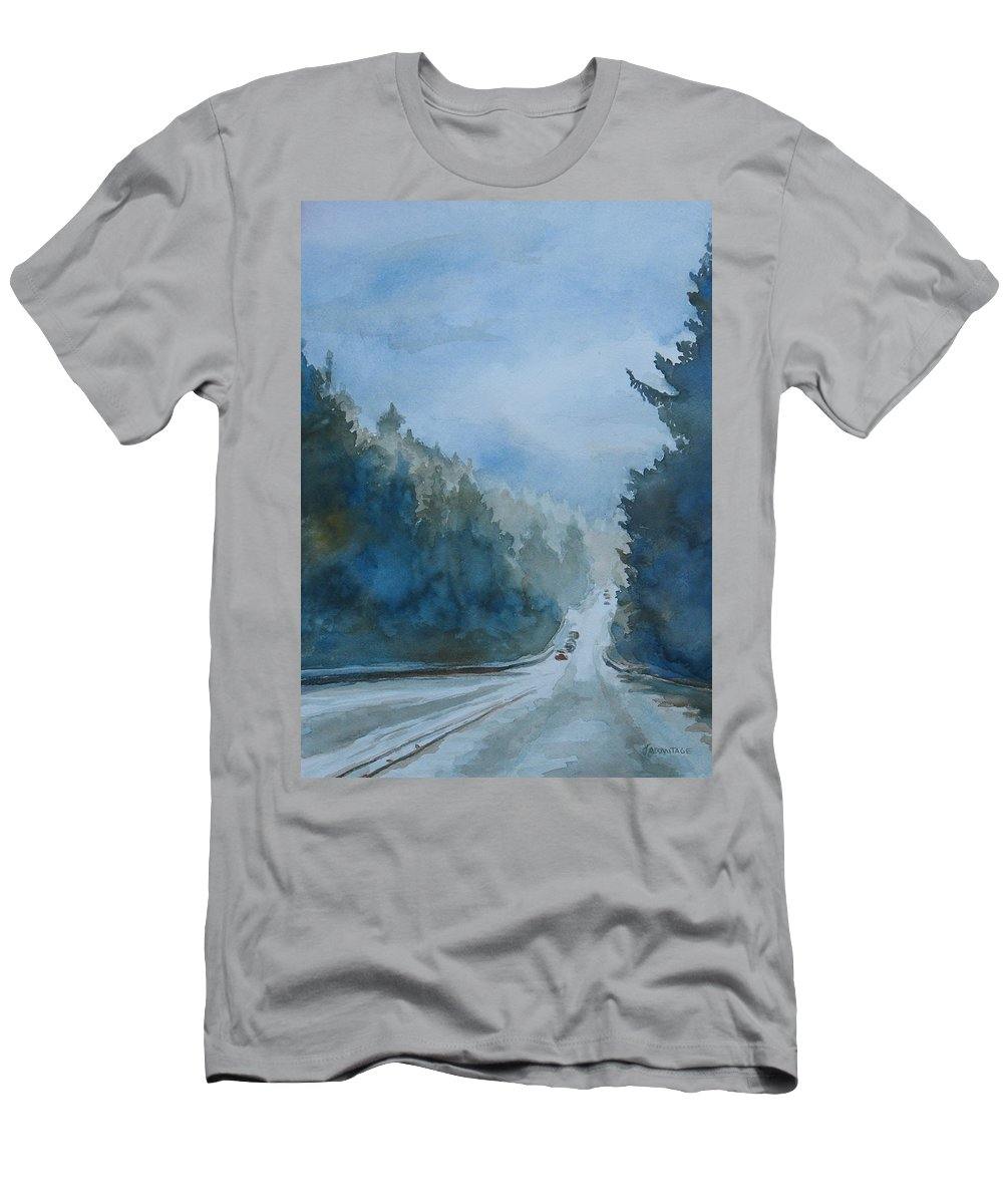 Road Men's T-Shirt (Athletic Fit) featuring the painting Between The Showers On Hwy 101 by Jenny Armitage
