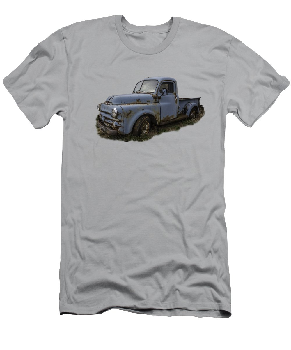 Abandoned Men's T-Shirt (Athletic Fit) featuring the photograph Big Blue Dodge Alone by Debra and Dave Vanderlaan