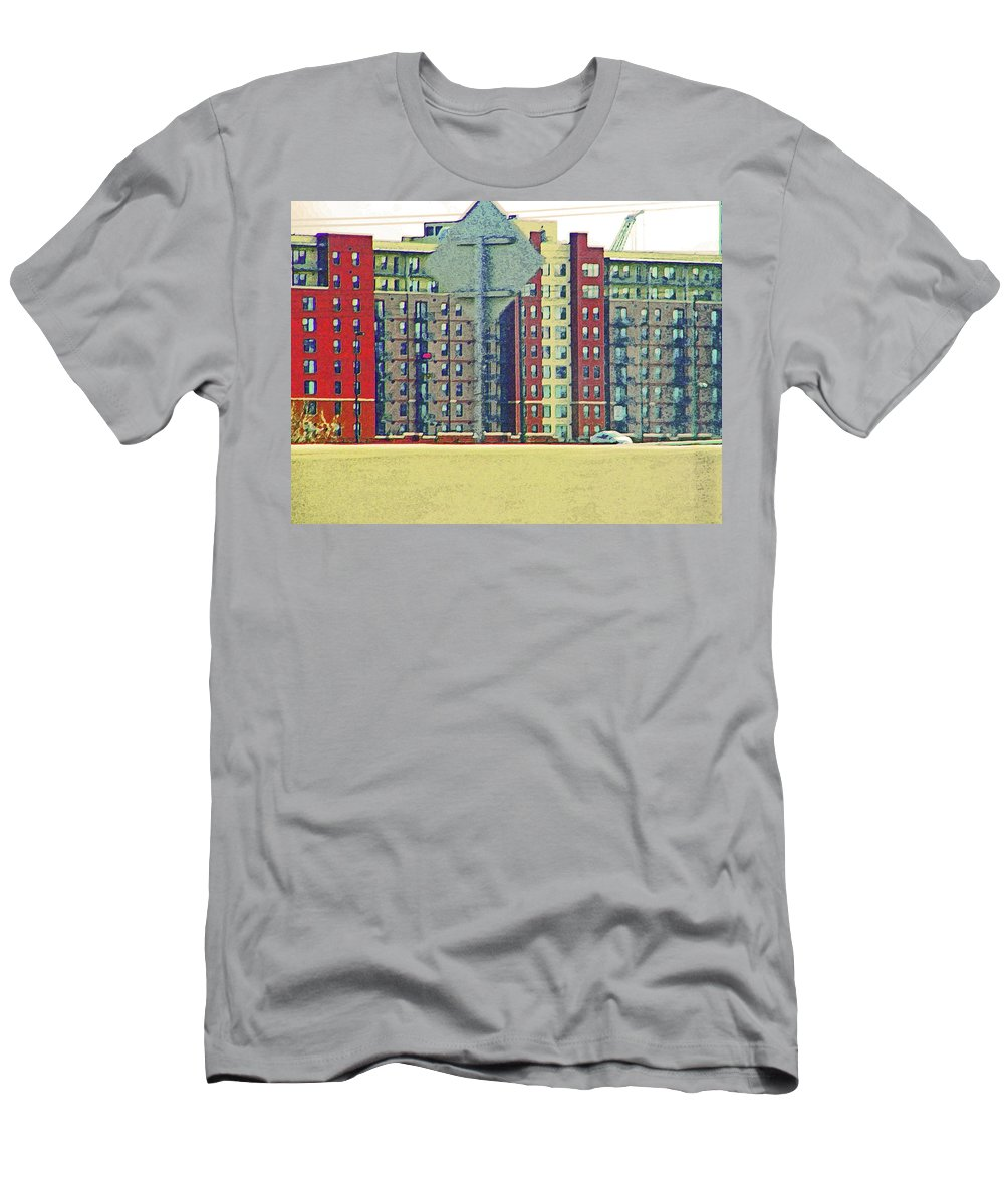 Abstract Men's T-Shirt (Athletic Fit) featuring the photograph Big Boxes On The Hillside by Lenore Senior
