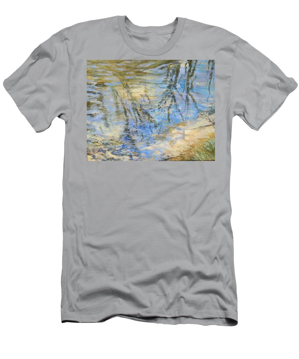 Water Men's T-Shirt (Athletic Fit) featuring the painting Big Creek by Denise Ivey Telep
