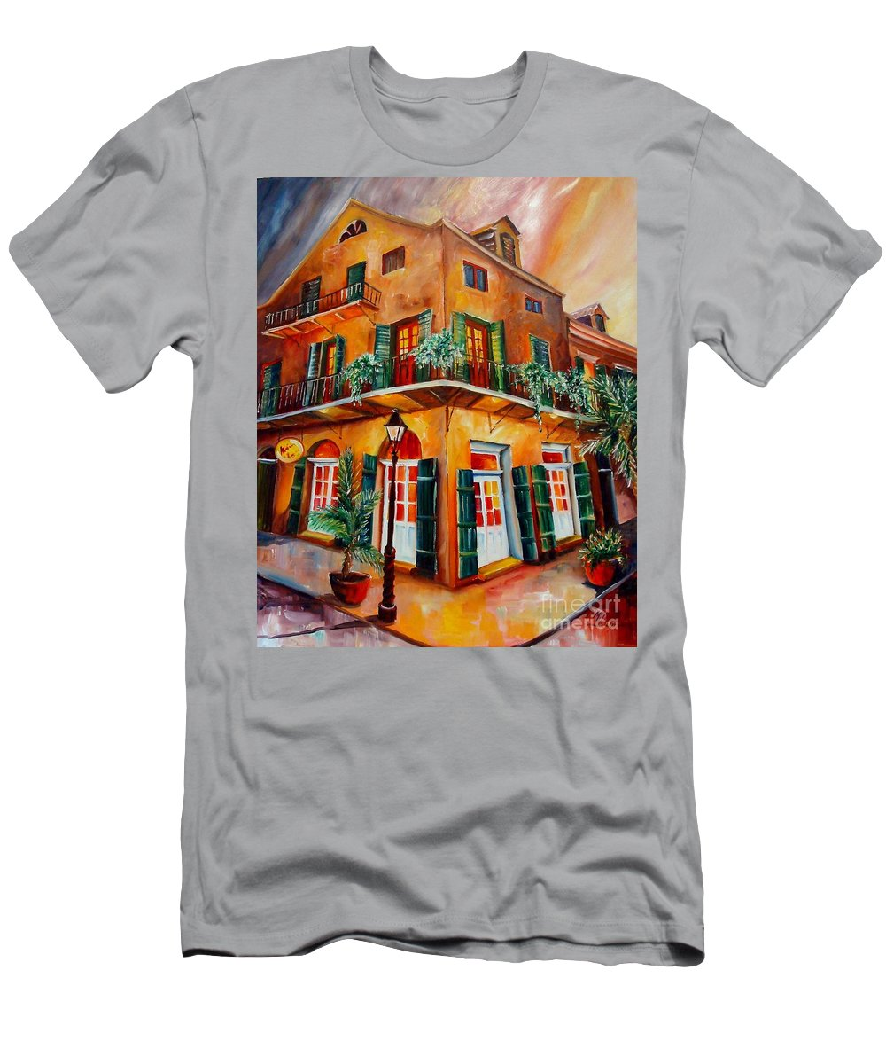 New Orleans Men's T-Shirt (Athletic Fit) featuring the painting Big Easy Sunset by Diane Millsap