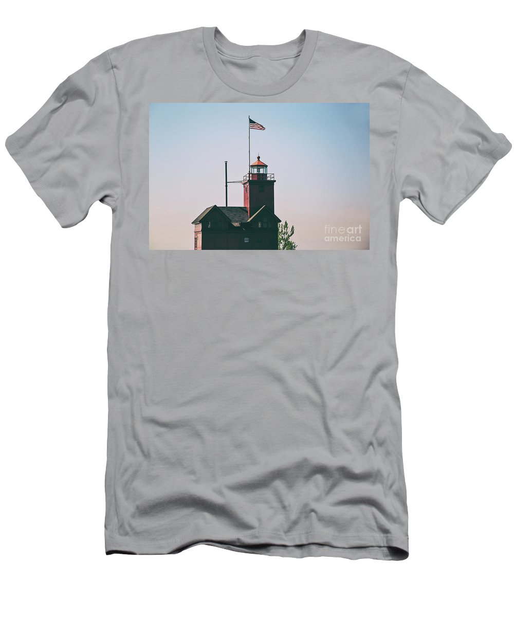 Lighthouse Men's T-Shirt (Athletic Fit) featuring the photograph Big Red Lighthouse by Scott Pellegrin