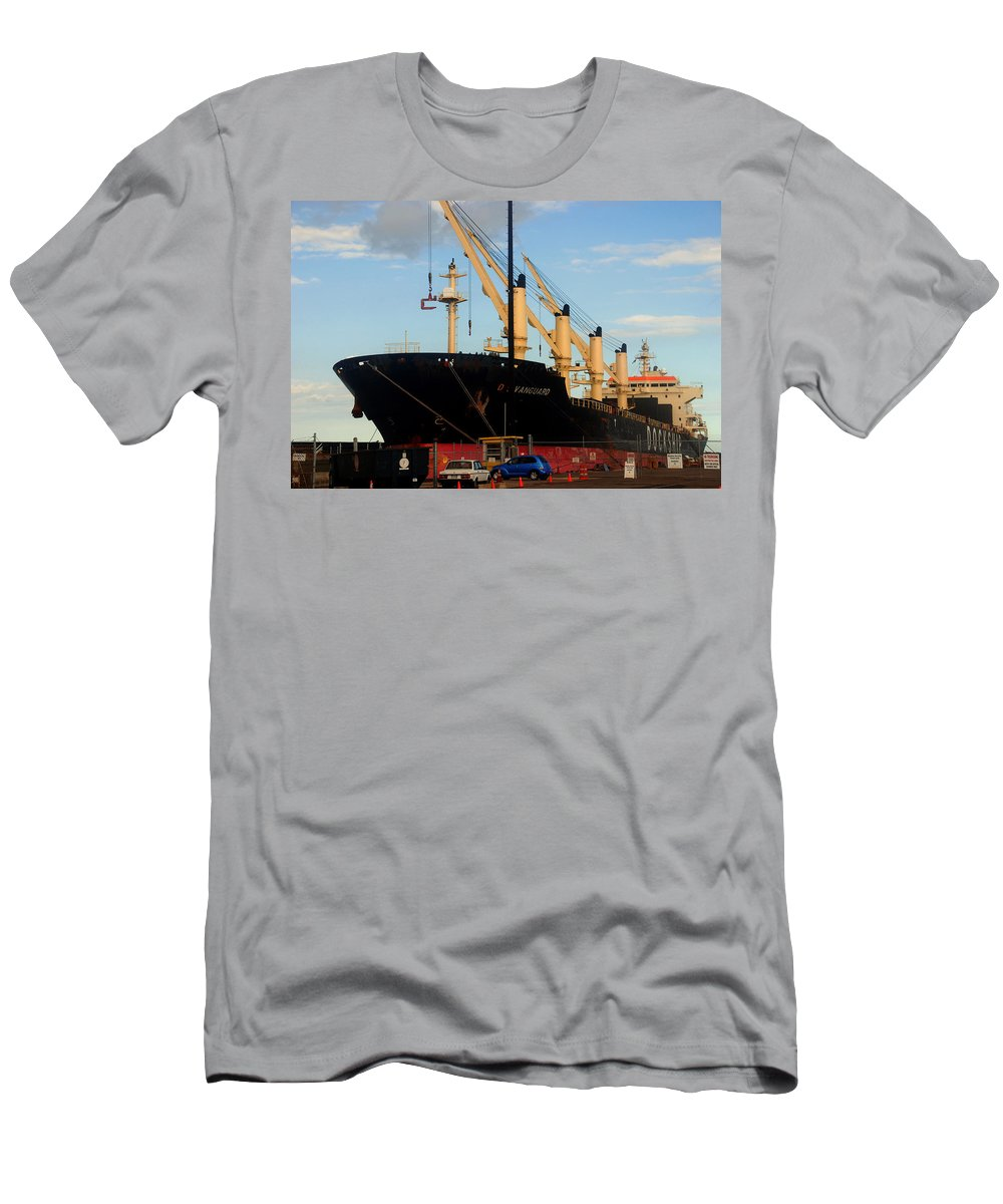 Oil Tanker Men's T-Shirt (Athletic Fit) featuring the photograph Big Tanker In The Harbor by Susanne Van Hulst