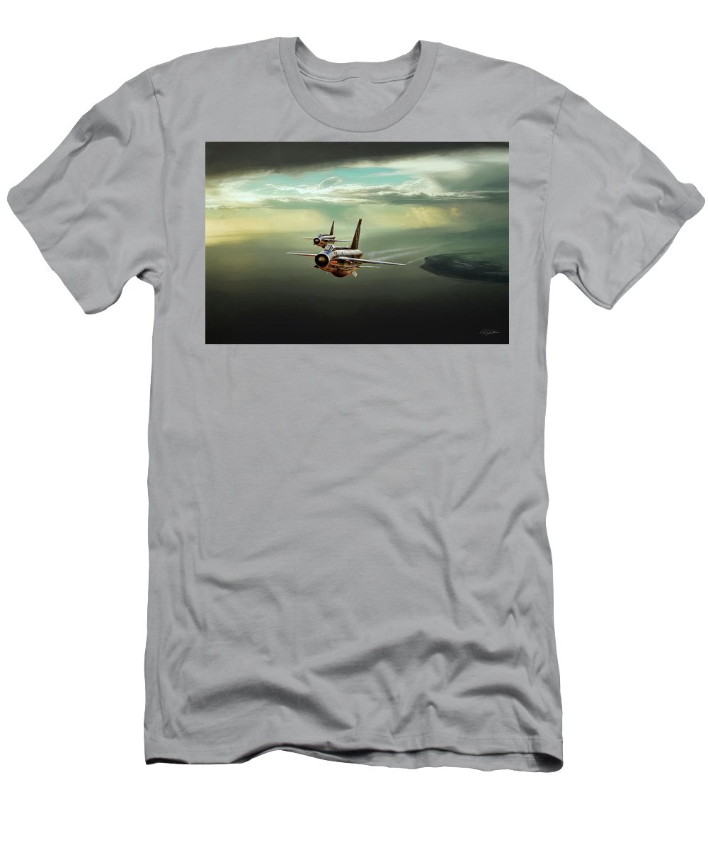 Aviation Men's T-Shirt (Athletic Fit) featuring the digital art Binbrook Lightnings by Peter Chilelli