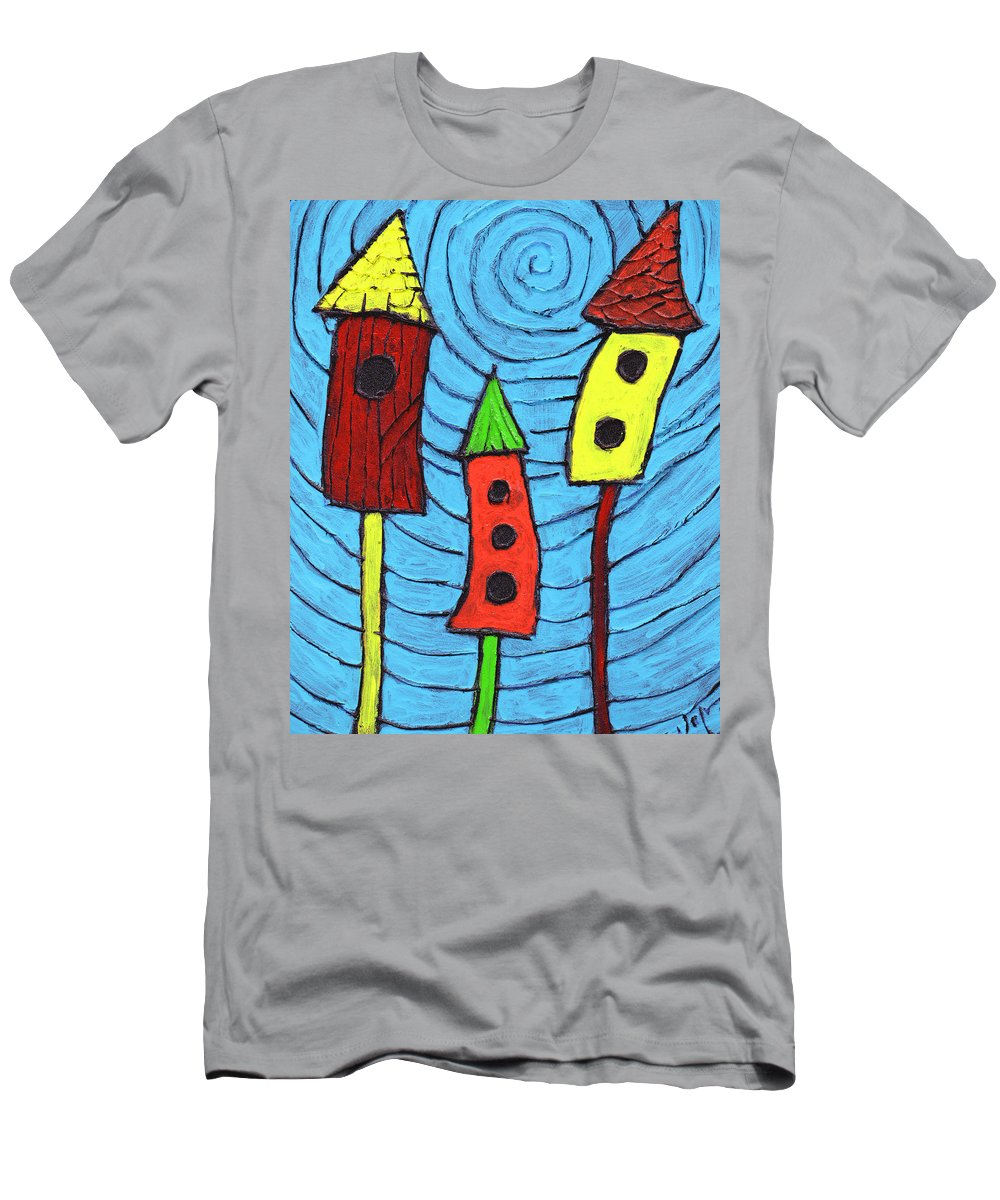 Bird Houses Men's T-Shirt (Athletic Fit) featuring the painting Bird Neighbors by Wayne Potrafka