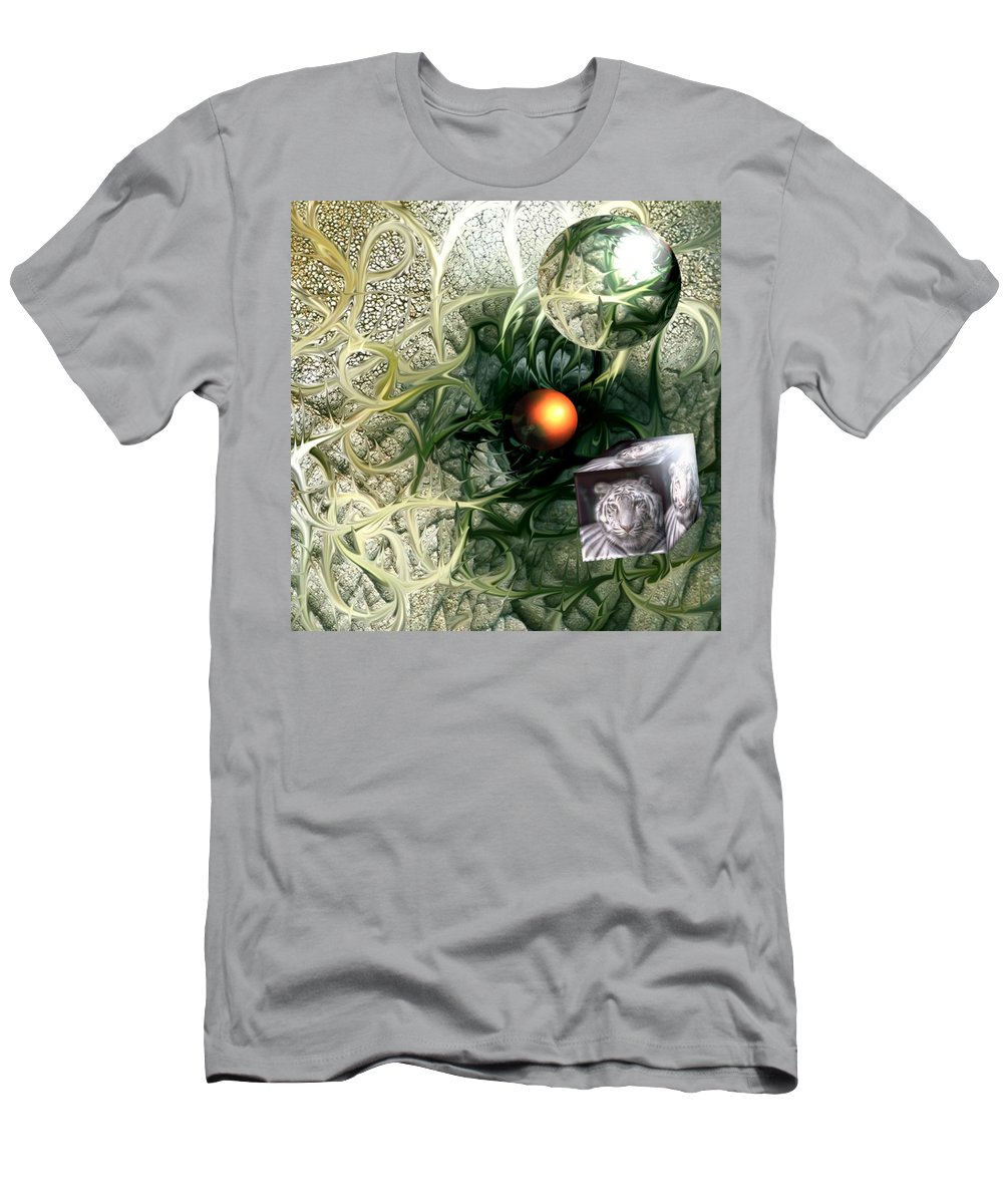 Abstract Nature Red Birth Tiger Spheres Wire T-Shirt featuring the digital art Birth by Veronica Jackson