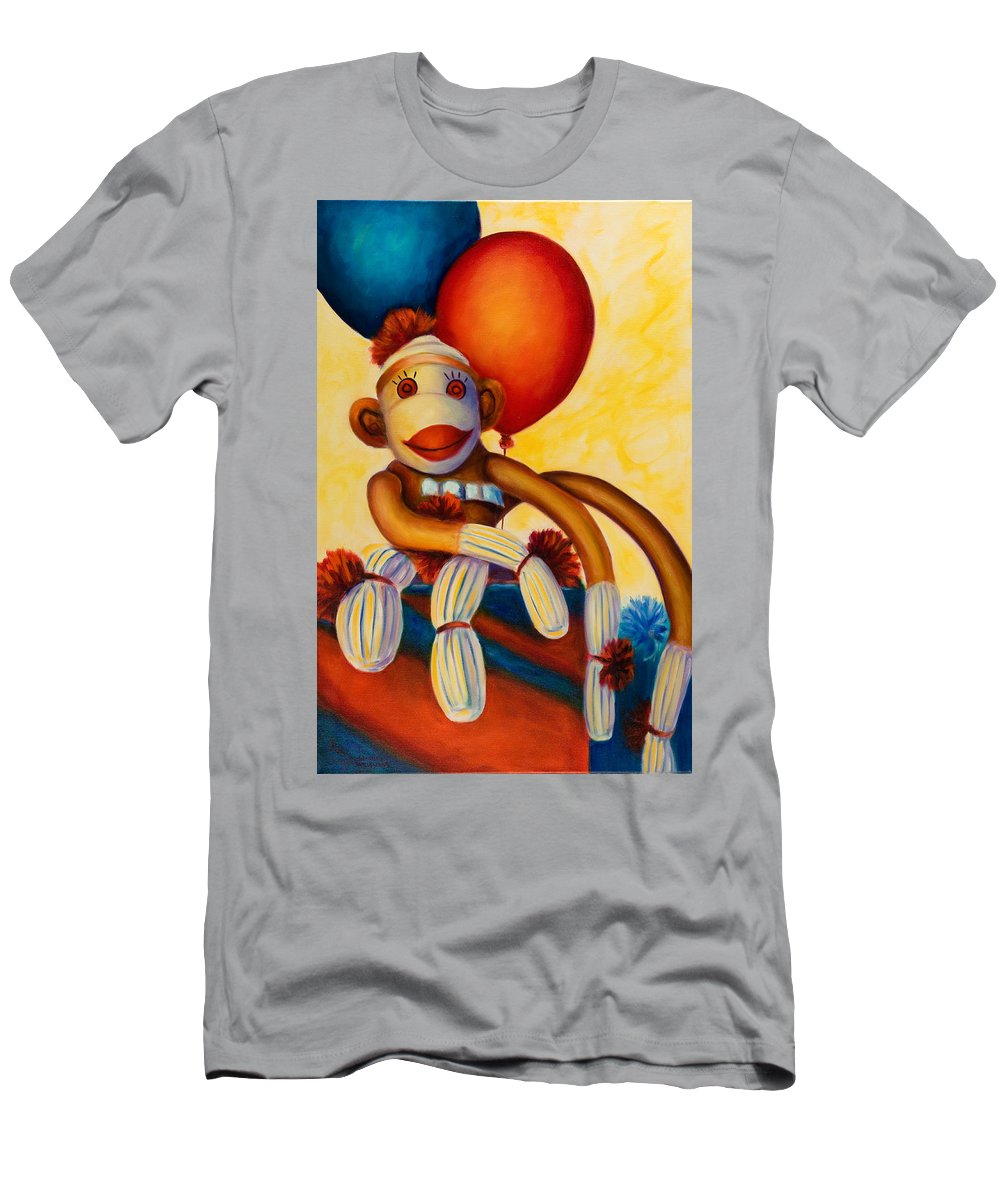 Sock Monkey Brown T-Shirt featuring the painting Birthday Made of Sockies by Shannon Grissom