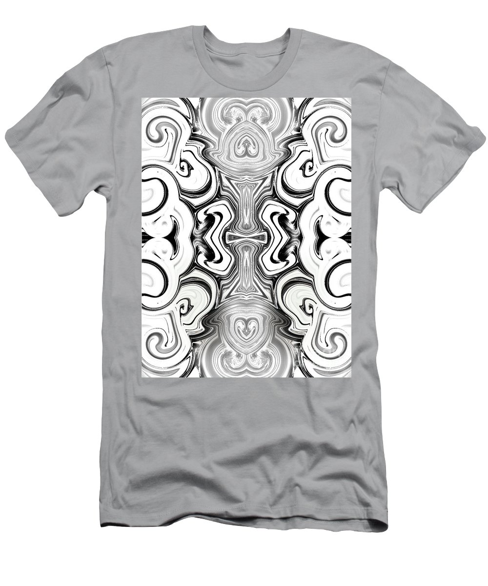 Abstract Men's T-Shirt (Athletic Fit) featuring the photograph Black And White Symmetry  by Samantha Joseph
