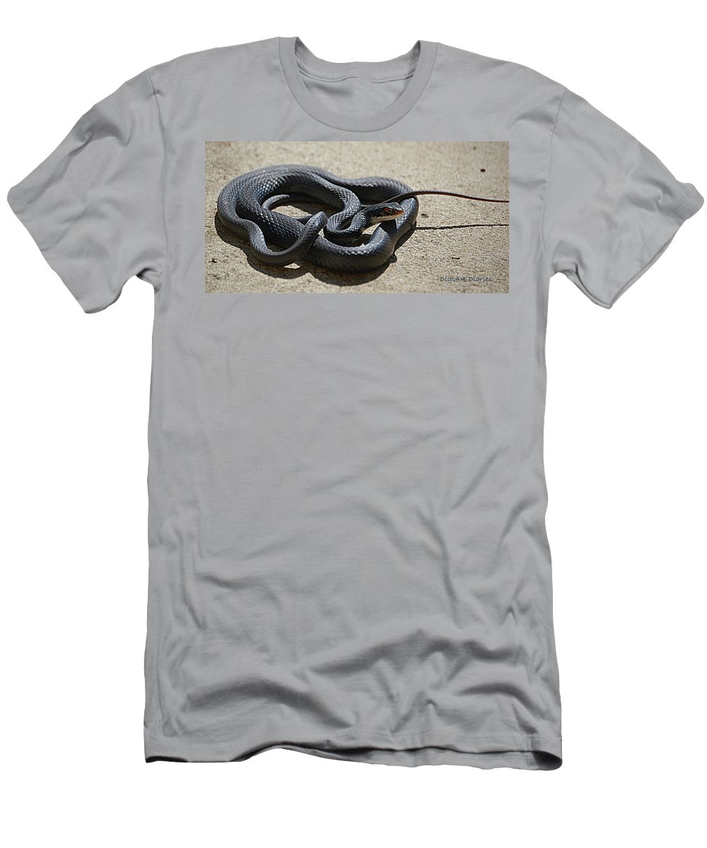 Snake Men's T-Shirt (Athletic Fit) featuring the digital art Black Racer by DigiArt Diaries by Vicky B Fuller