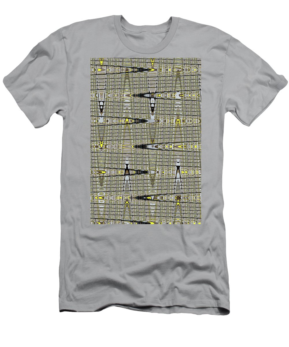 Black Walnut Drawing With Yellow Abstract Men's T-Shirt (Athletic Fit) featuring the digital art Black Walnut Drawing With Yellow Abstract by Tom Janca