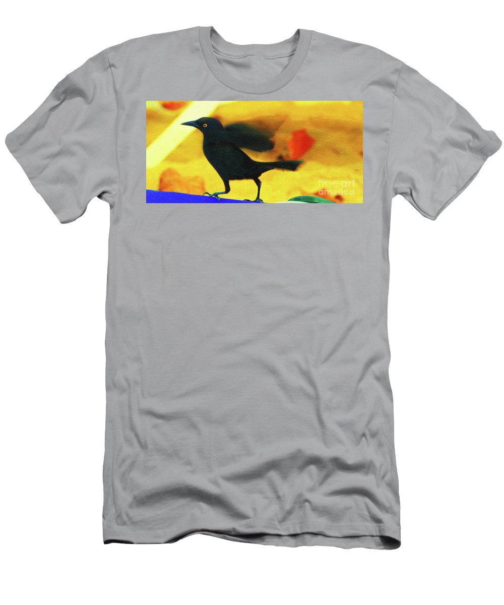 Bird Men's T-Shirt (Athletic Fit) featuring the photograph Blackbird by Madeline Ellis